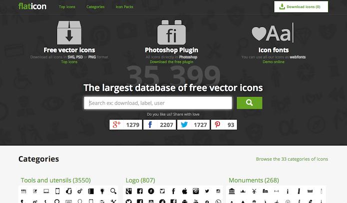 Homepage do site do plugin Flaticon (Foto: Repodução/ Lu Fávero)
