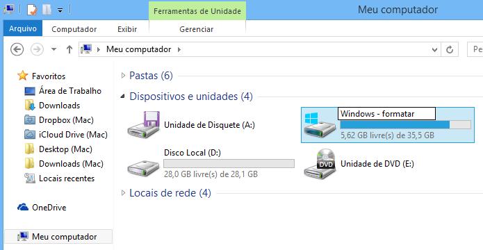 Renomear a partição do Windows ajuda a identificá-la durante a formatação