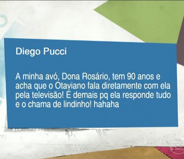 Neto de Dona Rosário envia mensagem falando sobre a avó (Foto: Vídeo Show / Gshow)
