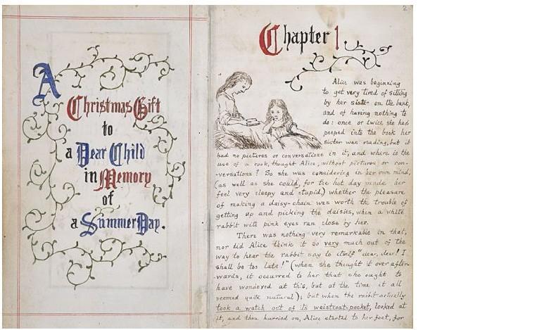 O manuscrito original de Alice no País das Maravilhas, criado por Lewis Carroll em 1864.  (Foto: biblioteca britânica)
