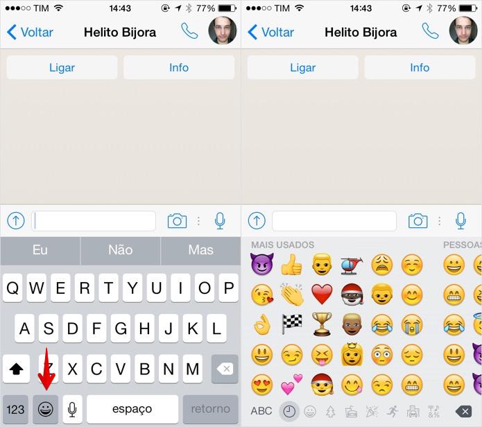 Acessando o teclado de Emojis no iOS (Foto: R)
