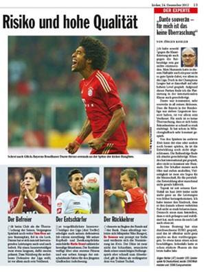Revista Kicker, Dante é o melhor zagueiro da Bundesliga (Foto: Reprodução)