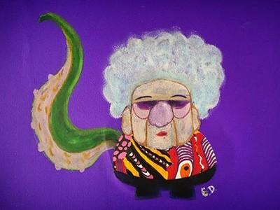 Dona Zylla, avó de Emilio, virou desenho pelas mãos do neto (Foto: Arquivo pessoal)