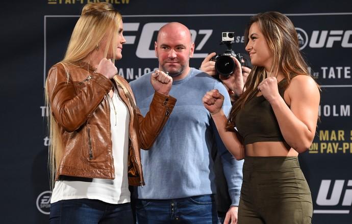 Holly Holm e Miesha Tate encarada coletiva UFC 197 (Foto: Getty Images)