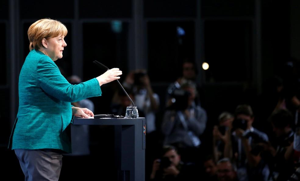 Chanceler alemã, Angela Merkel, durante a cúpula do G20 em Hamburgo (Foto:  Reuters/Axel Schmidt)