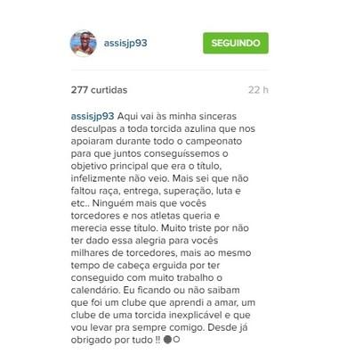 João Paulo deixou recado para torcida do CSA (Foto: Reprodução / Instagram)