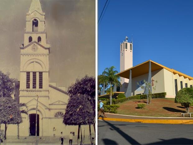 Antiga Igreja Matriz da cidade (à esquerda) e igreja construída na nova Guapé (à direita) (Foto: Montagem Arquivo Prefeitura Municipal de Guapé / Samantha Silva - G1)
