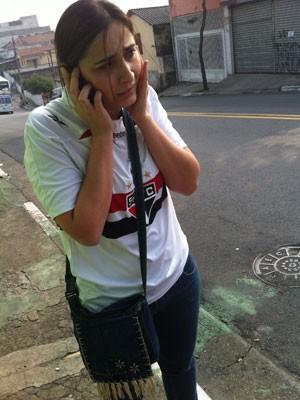 Cristiane Abdalla, viúva do empresário morto na frente da academia (Foto: Kleber Tomaz / G1)
