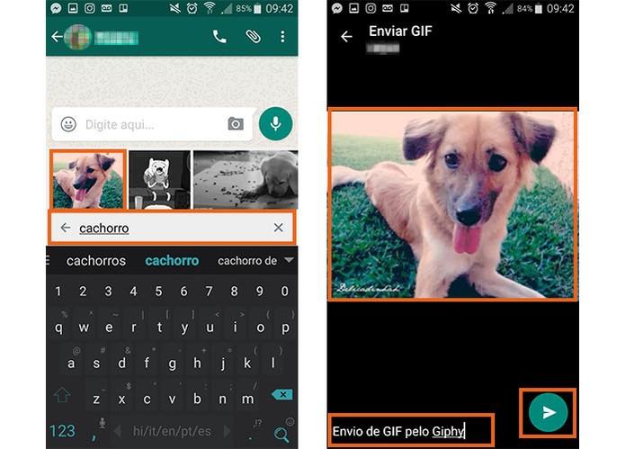 Envie o GIF para seu amigo no WhatsApp (Foto: Reprodução/Barbara Mannara)