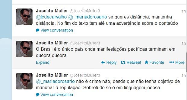 No Twitter, o internauta identificado como Joselito alegou que o blog é de conteúdo humorístico (Foto: Reprodução/ Twitter)
