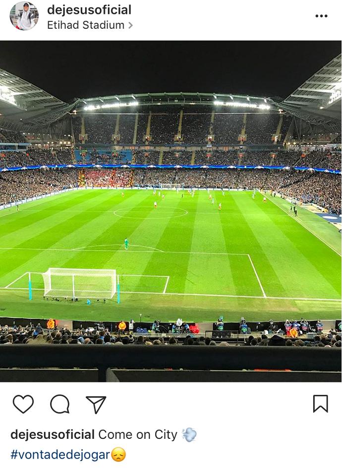 """BLOG: Gabriel Jesus torce pelo Manchester City no estádio: """"Vontade de jogar"""""""