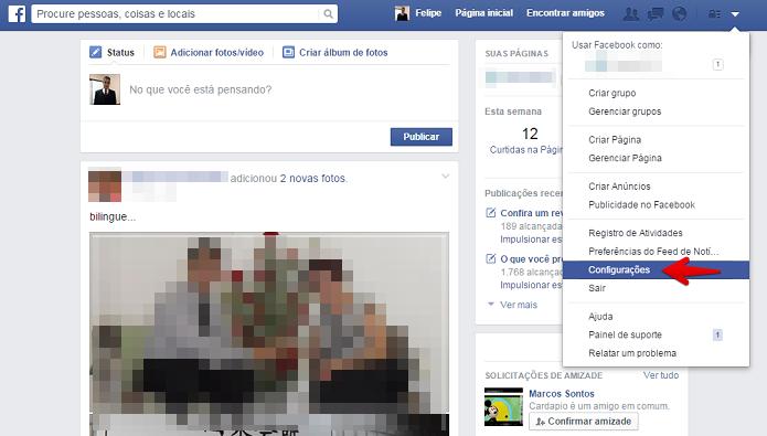 Acesse as configurações do Facebook (Foto: Felipe Alencar/TechTudo)