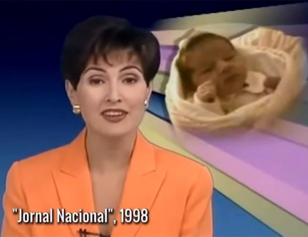 Nascimento de Sasha contou com reportagem especial no Jornal Nacional de 1998 (Foto: Reprodução/TV Globo)