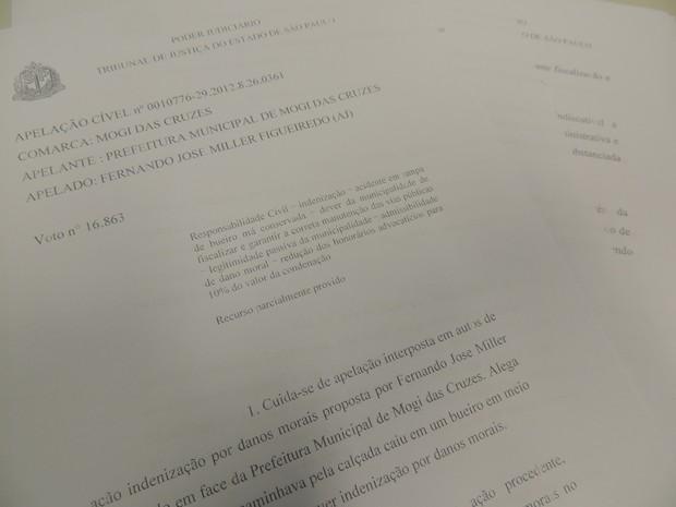 Prefeitura de Mogi das Cruzes é condenada a pagar R$ 10 mil por queda em bueiro (Foto: Fernanda Lourenço/G1)