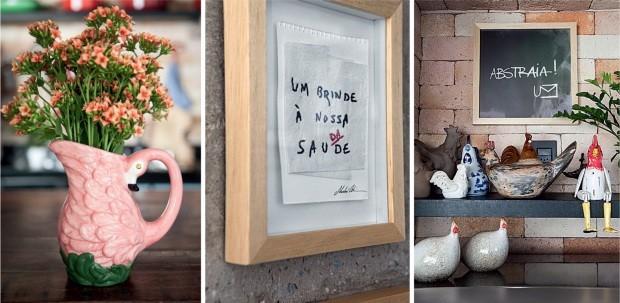Afetos. O jarro de flamingo kitsch foi trazido de viagem à Itália; o quadro traz jogo de palavras bordado em papel, do artista goiano Marlan Cotrim; e as galinhas formam outra das coleções de Haroldo (Foto: Lufe Gomes / Editora Globo)