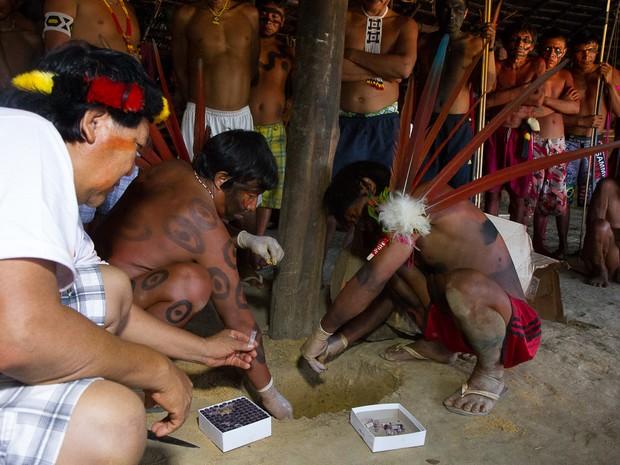 As 2.693 amostras foram enterradas em local escolhido pelos pajés na Yanoa, que significa 'maloca' em yanomae (Foto: Inaê Brandão)