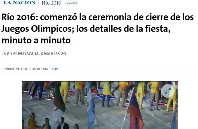 la nación, cerimônia de encerramento (Foto: Reprodução)