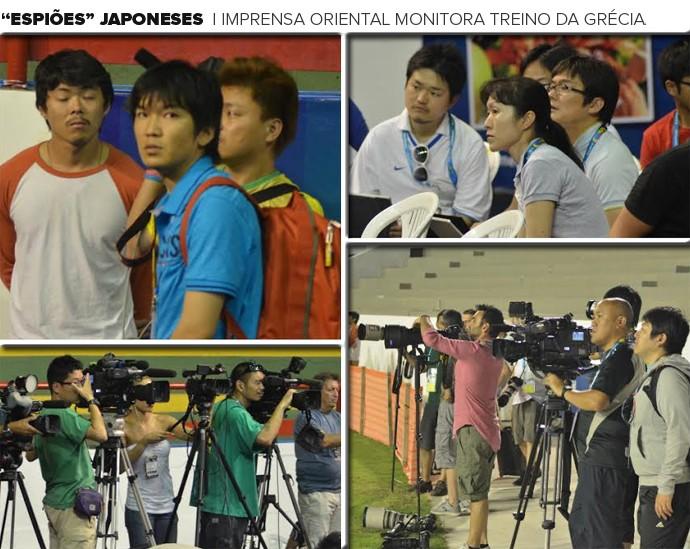 Mosaico - Imprensa Japonesa treino Grécia (Foto: Editoria de Arte)