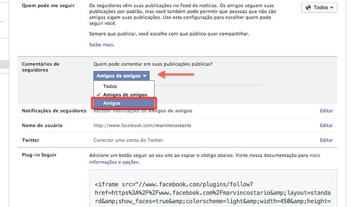 0cf1a411fe Alterando configurações de comentários de seguidores do Facebook (Foto   Reprodução Marvin Costa)