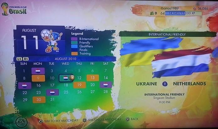 Jogador tem calendário (Foto: Reprodução/Thiago Barros)