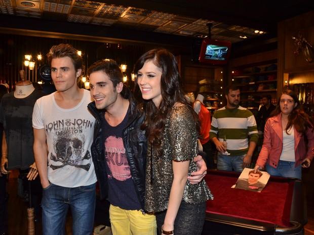 Paul Wesley, Fiuk e Sophia Abrahão em evento em São Paulo (Foto: Caio Duran / AgNews)