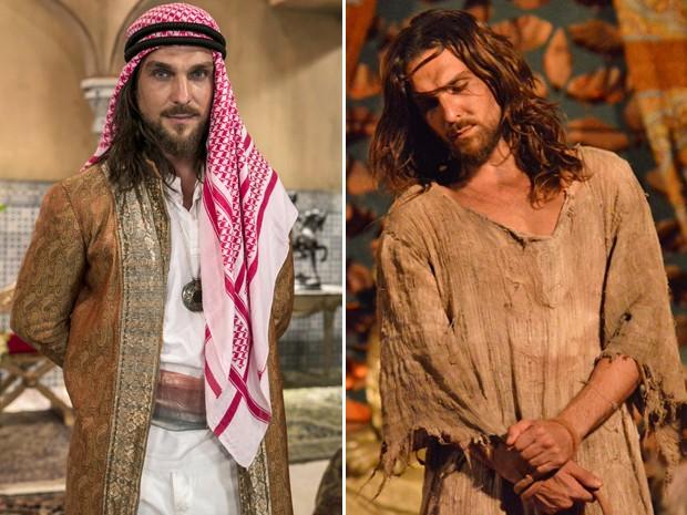 Igor Rickli na pa pele de um Rei árabe e como Jesus Cristo (Foto: Inácio Moraes/Gshow e Arquivo pessoal)