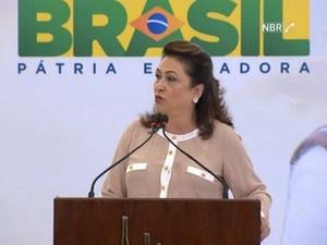 Ministra Kátia Abreu anunciou o Plano Agrícola e Pecuário nesta terça (2), em Brasília (Foto: NBR)