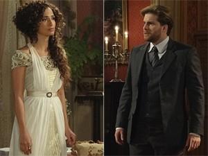 Isabel abre o jogo com Edgar e ele se desespera (Foto: Lado a Lado / TV Globo)
