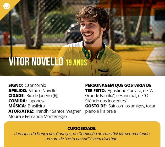 Card com informações curiosas de Vitor Novello (Foto: Gshow)