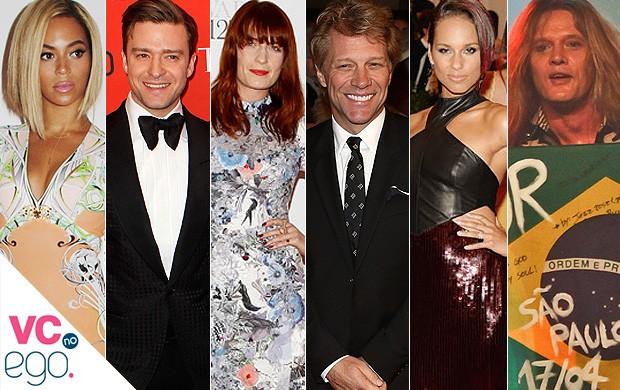 VC no EGO - Rock in Rio - Beyonce, Justin Timberlake, Florence Welch, Bon Jovi, Alicia Keys e Sebastian Bach (Foto: Getty Images, Reuters/Agências e Fotorio News)