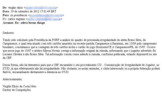 Nota da CBF sobre o Caso Breno, do Campinense (Foto: Reprodução / CBF)
