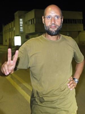 Saif al-Islam Khadafi em foto de 23 de agosto de 2011 (Foto: AFP photo/Imed Lamloum)