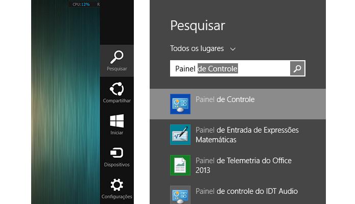 Um jeito prático de entrar no Painel é usando a pesquisa do Windows (Foto: Reprodução/Paulo Alves)