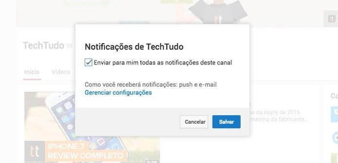 Sistema de notificações do YouTube (Foto: Reprodução/André Sugai)