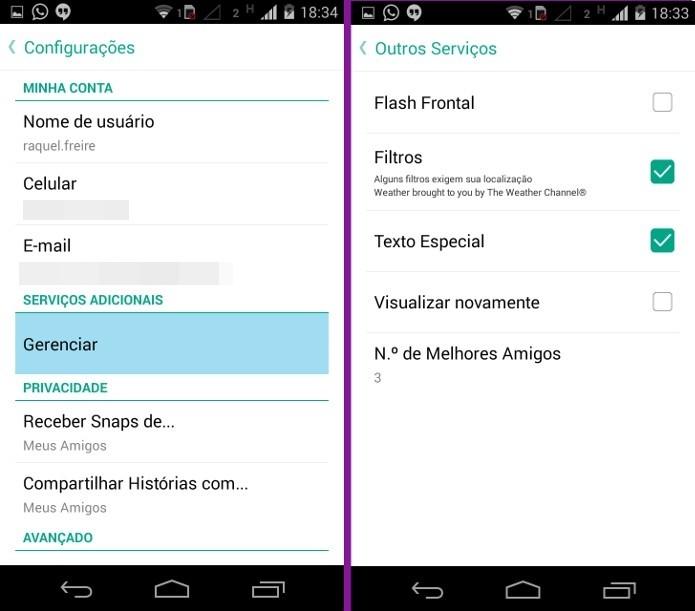 Telas de configuração do Snapchat (Foto: Reprodução/Raquel Freire)