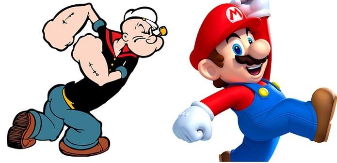 Mario ou PopEye, quem seria o melhor? (Foto: Reprodução)