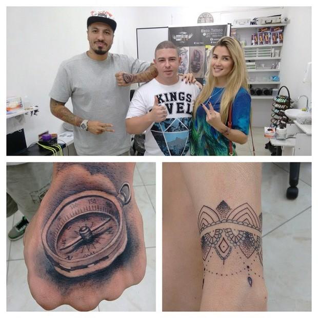 Fernando Medeiros e Aline Gotschalg em estúdio de tatuagem (Foto: Reprodução/Instagram)