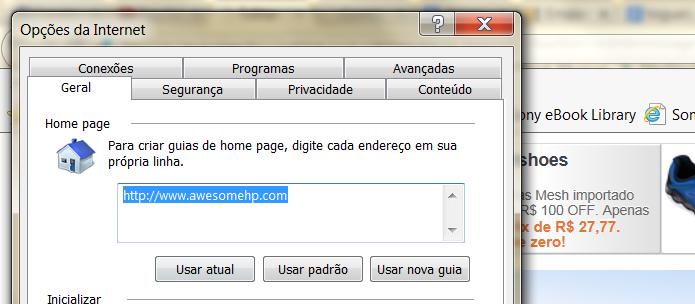 Remova o endereço do malware e insira um novo para alterar sua página principal