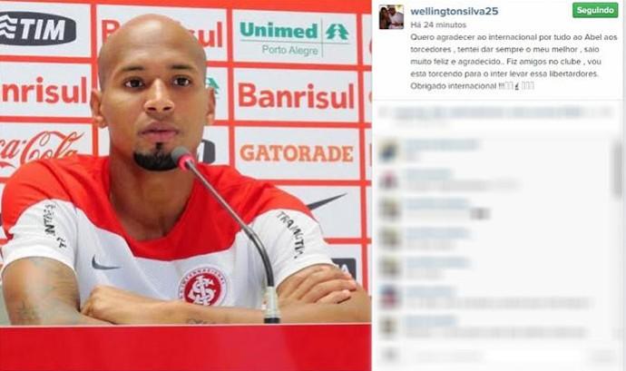 Wellington Silva, agradecimento ao Internacional (Foto: Reprodução / Instagram)