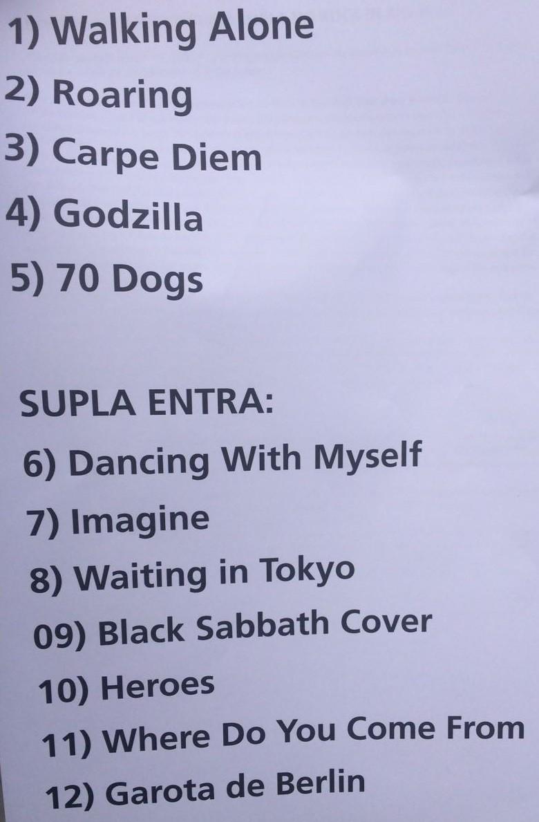 Setlist da parceria entre a banda Doctor Pheabes e Supla (Foto: Reproduo)