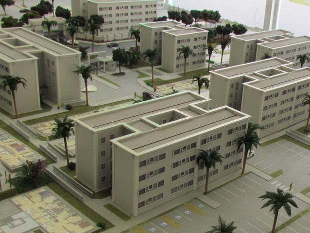 Maquete de condomínio vendido no Setor Santa Rita, em Goiânia, Goiás (Foto: Divulgação/ MRV Engenharia)