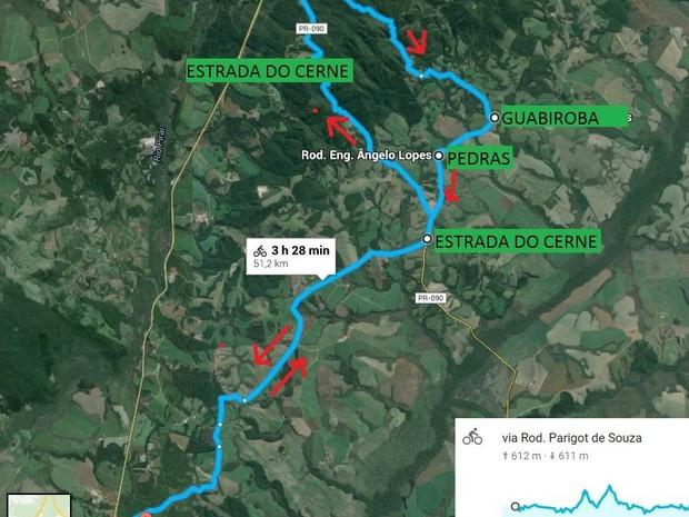 Confira o trajeto da pedalada que ocorre no domingo (8) (Foto: Divulgação/Prefeitura de Castro)