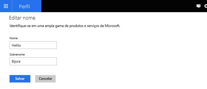 Alterado o nome da conta Microsoft (Foto: Reprodução/Helito Bijora)