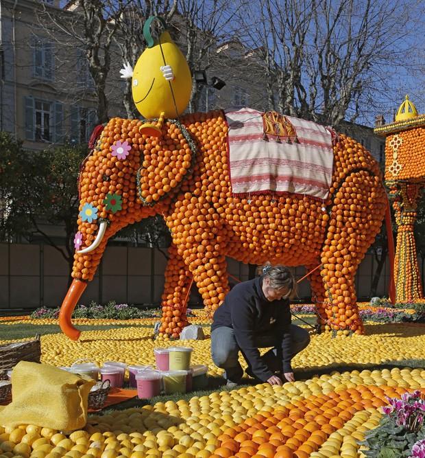 Escultura de elefante feita de frutas cítricas é destaque de festival francês (Foto: Lionel Cironneau/AP)