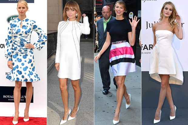 MODA - Scarpin branco - Karolina Kurkova, Nicole Richie, Stacy Keibler e Rosie Huntington (Foto: Getty Images | AFP)