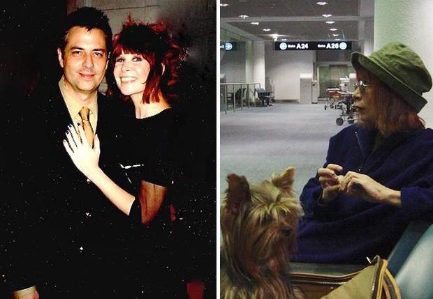 Rita e Roberto de Carvalho, nos bastidores de um desfile de 1996; Ao lado, Rita no aeroporto com Kika, um de seus cachorros (Foto: Reprodução/Facebook)