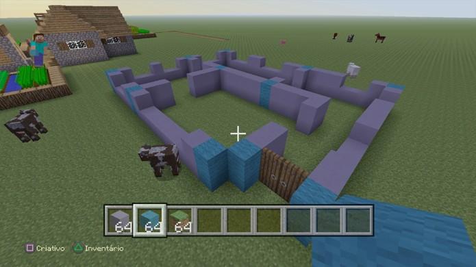 Erga os primeiros blocos das paredes e coloque as portas na sua casa de Minecraft, mas deixe espaço para janelas (Foto: Reprodução/Rafael Monteiro)