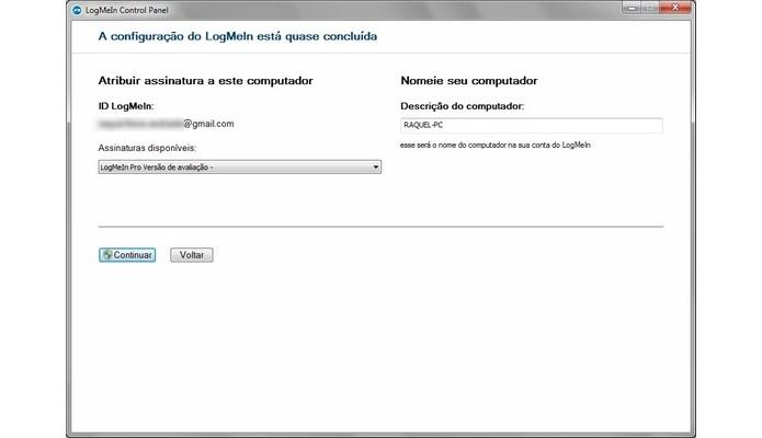 Tela final para criação de conta no LogMeIn (Foto: Reprodução/ Raquel Freire)