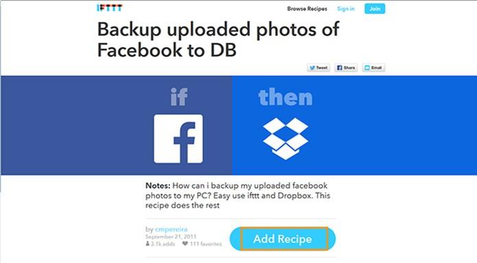 Acesse o site do IFTTT para iniciar o backup (Foto: Reprodução/Barbara Mannara)