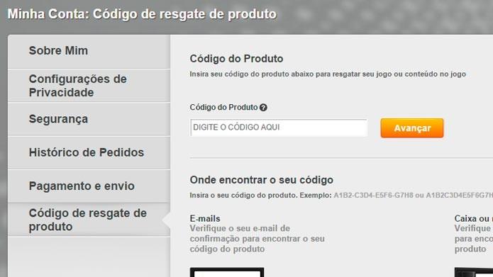 No menu do site, clique em Código de resgate de produto (Foto: Reprodução/Tais Carvalho)
